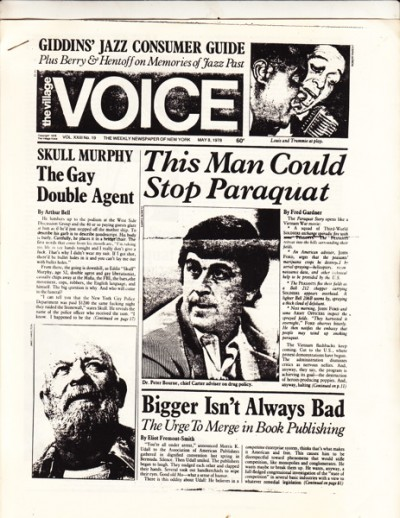 Peter Bourne on the front page of the Village Voice, May 8, 1978