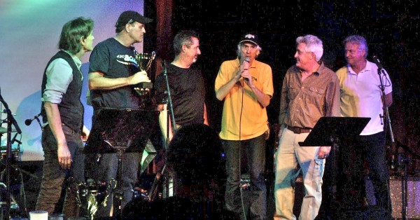 Impresario/writer/organizer Steve Hagar honoring the Waldos on the eve of 4/20. From left: Steve, Dave, Mark, Hagar, Larry, and Jeff. Graphic from videographer Chad Rea.