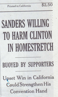 """NYT """"Sanders Willing to Harm Clinton"""""""