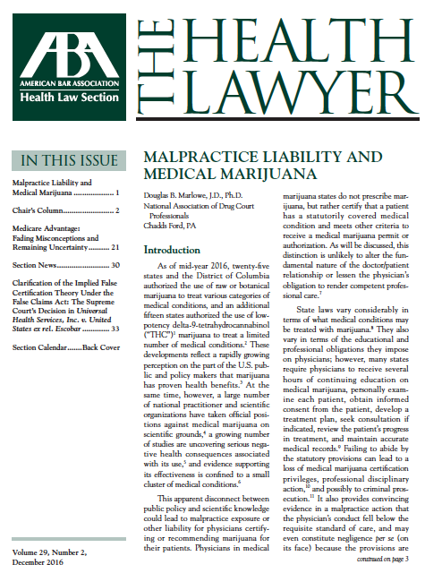 Malpractice Liability and Medical Marijuana