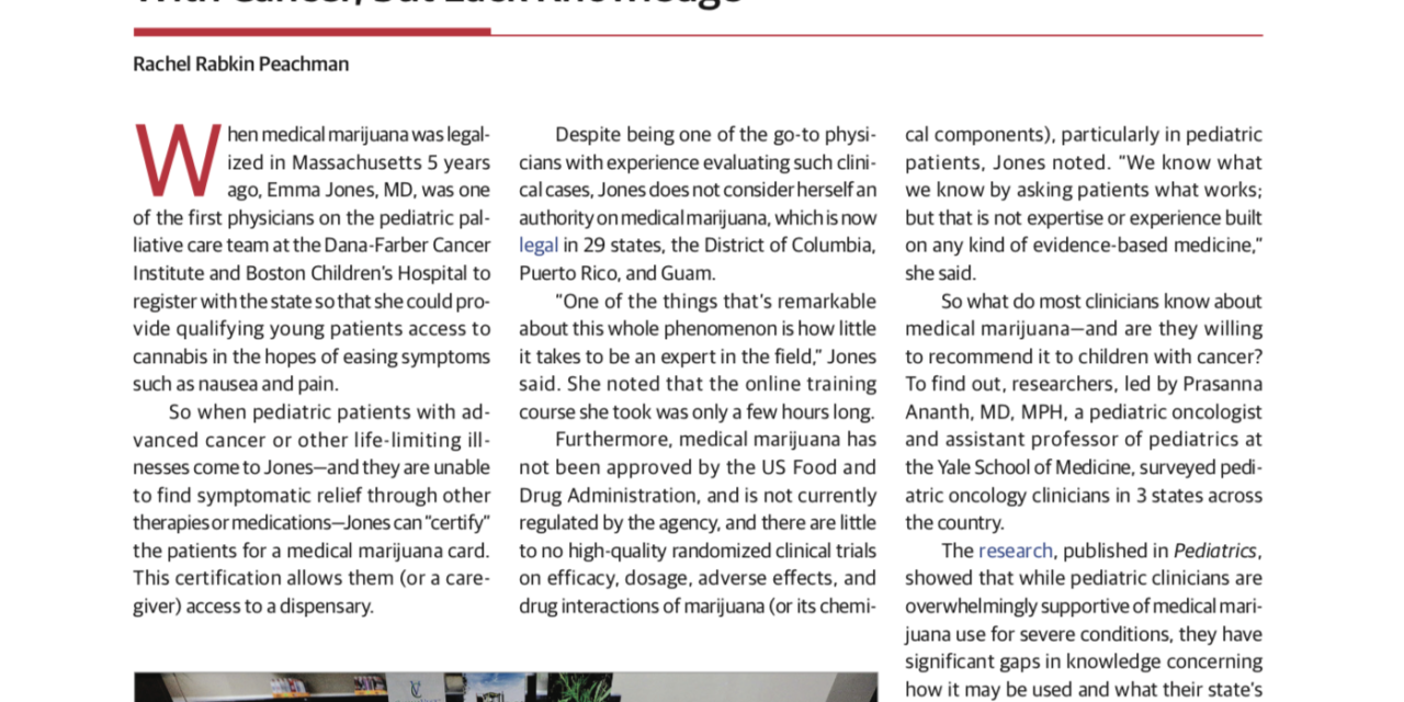 JAMA Misstates Federal Law re Cannabis Approvals